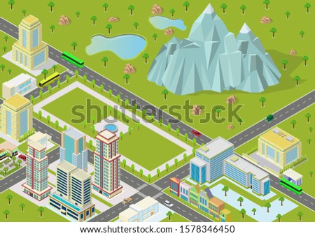 isometric landscapes with city