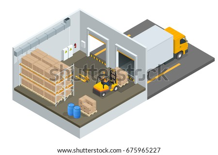 Isometric large modern warehouse with forklifts and truck.  Storage flat isolated vector illustration.