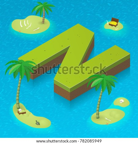 Isometric letter N, surrounded by tropical islands with pirates attributes. Vector illustration with N as part of isometric 3D font. Sea, beach, palms and pirates stuff: skull, treasure and rum  Stok fotoğraf ©