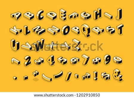 Isometric letters halftone font vector illustration of thin line cartoon abstract alphabet typography, numbers and symbols or signs in geometric shape 3D style on yellow background