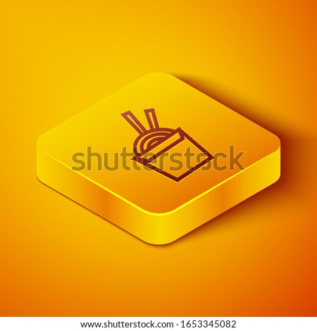 Isometric line Asian noodles in paper box and chopsticks icon isolated on orange background. Street fast food. Korean, Japanese, Chinese food. Yellow square button. Vector Illustration