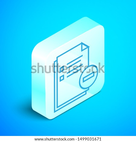 Isometric line Document with minus icon isolated on blue background. Clear document. Remove file document. Delete information file. Silver square button. Vector Illustration