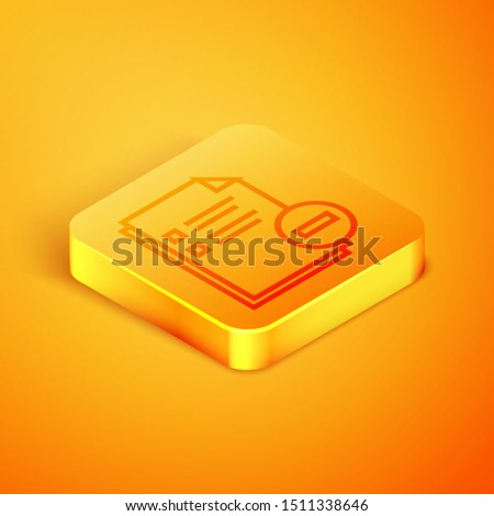 Isometric line Document with minus icon isolated on orange background. Clear document. Remove file document. Delete information file. Orange square button. Vector Illustration
