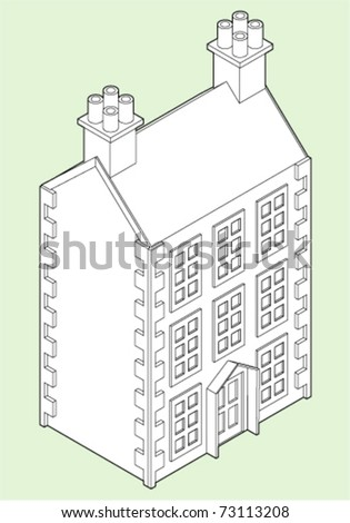 isometric line drawing of a