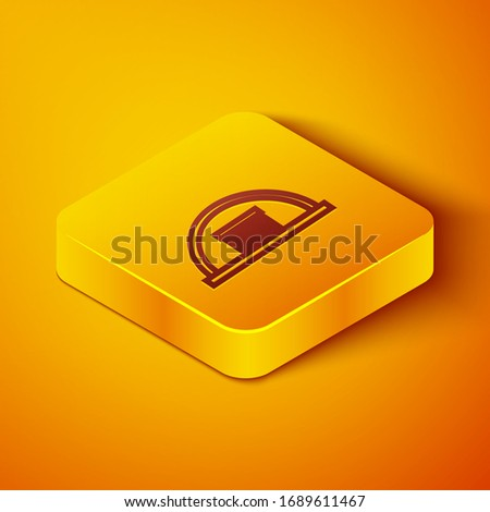 Isometric line Hangar icon isolated on orange background. Yellow square button. Vector Illustration