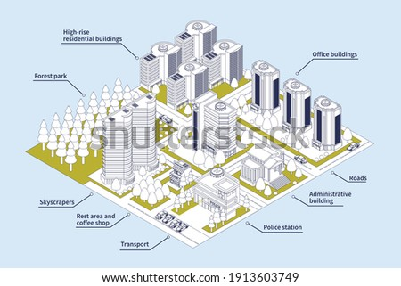 Isometric line infographics of modern city with skyscrapers transport roads forest park 3d vector illustration