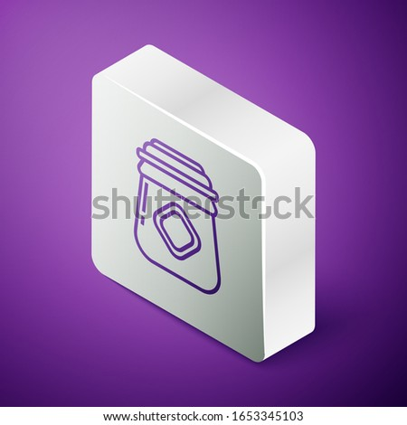 Isometric line Jar of honey icon isolated on purple background. Food bank. Sweet natural food symbol. Silver square button. Vector Illustration
