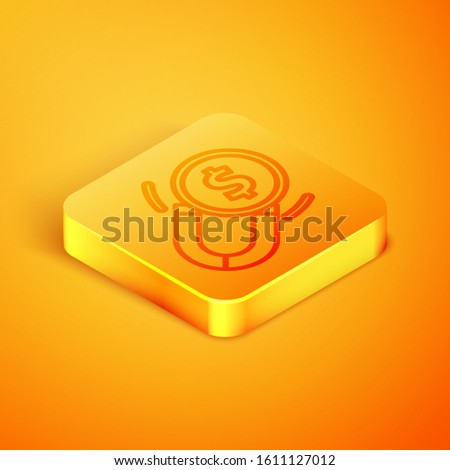 Isometric line Magnet with money icon isolated on orange background. Concept of attracting investments. Big business profit attraction and success. Orange square button. Vector Illustration