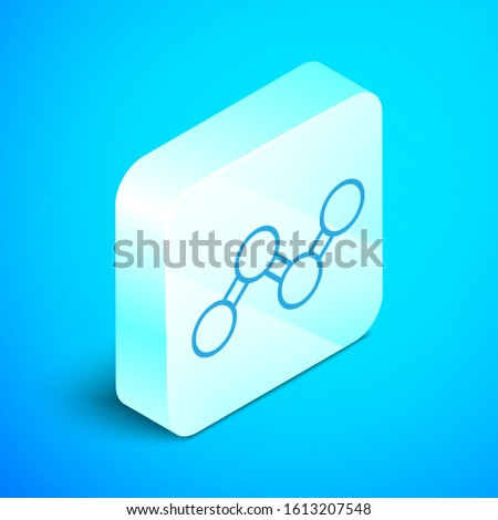 Isometric line Share icon isolated on blue background. Sharing, communication pictogram, social media, connection, network, distribute. Silver square button. Vector Illustration