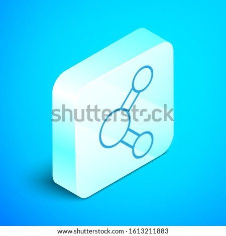 Isometric line Share icon isolated on blue background. Sharing, communication pictogram, social media, connection, network, distribute sign. Silver square button. Vector Illustration