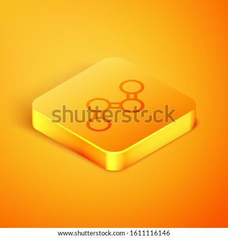 Isometric line Share icon isolated on orange background. Sharing, communication pictogram, social media, connection, network, distribute. Orange square button. Vector Illustration