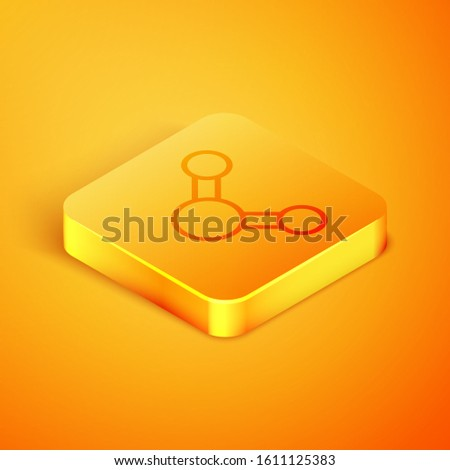 Isometric line Share icon isolated on orange background. Sharing, communication pictogram, social media, connection, network, distribute sign. Orange square button. Vector Illustration