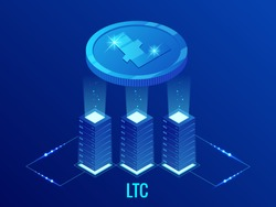 Isometric Litecoin LTC Cryptocurrency mining farm. Blockchain technology, cryptocurrency and a digital payment network for financial transactions. Abstract blue background.