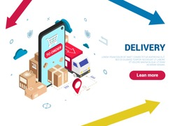 Isometric logistics and delivery concept. Home and office delivery. City logistics. Warehouse, truck, forklift, courier, drone and delivery man. Vector graphics. Can be used for web banner. Blue.