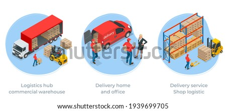 Isometric Logistics and Delivery Infographics. Delivery home and office. City logistics. Online Express, Free, Fast Delivery, Shipping concept.