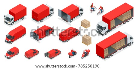 Isometric Logistics icons set of different transportation distribution vehicles, delivery elements. Cargo transport isolated on white background. - Shutterstock ID 785250190