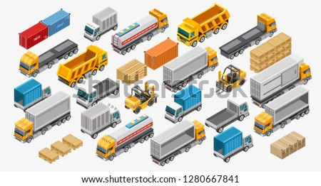 Isometric logistics set of forklifts and freight trucks amidst pallets with goods. Logistics transport isometric style. Different type freight transport —сontainer carrier, dump truck, refrigerator.