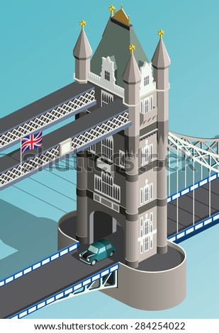 isometric london tower bridge