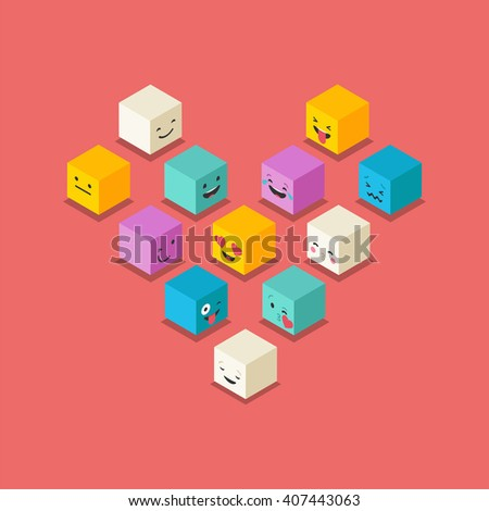 isometric love  heart symbol