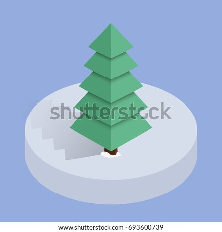 isometric low poly christmas