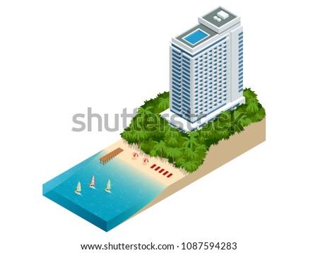 isometric luxury beach hotel