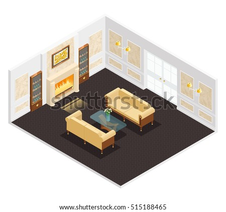 isometric luxury interior for