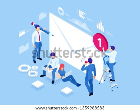 Isometric mailing list or mailing services. Online marketing and communication. Electronic mail message concept as part of business marketing.