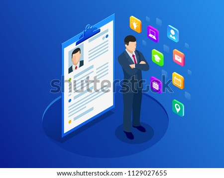 Isometric man and cv resume documents. Recruiting advertisement, Job opportunity. Searching professional staff, work, analyzing resume, documents papers