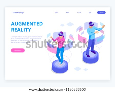 Isometric Man and woman wearing virtual reality goggles. Augmented realty concept. Man wearing goggle headset with touching vr interface. Into virtual reality world. Future technology - Shutterstock ID 1150533503