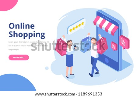 Isometric man and woman with shopping bags. Big sale. Happy shoppers. Online Shopping concept. Flat vector isolated  illustration.