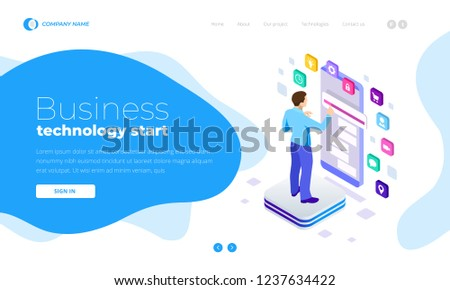 Isometric Man Using Smartphone, touchscreen. Project Manager Researching Process. Innovation Graphs Interface. Landing page template. #1237634422