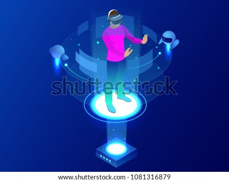 Isometric Man wearing goggle headset with touching vr interface. Into virtual reality world. Future technology.