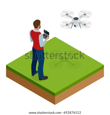 isometric man with drone...