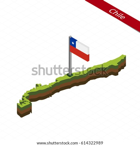 Shutterstock Isometric map and flag of Chile. 3D isometric shape of Chile. Vector Illustration.
