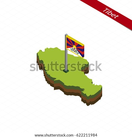 isometric map and flag of tibet