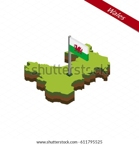 isometric map and flag of wales