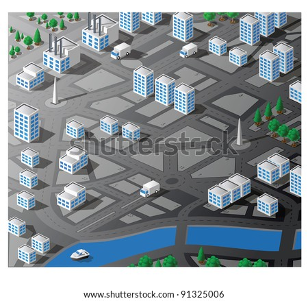 Isometric map city block with cars, streets, parks and residential apartments. Use for business, real estate agencies and construction companies.