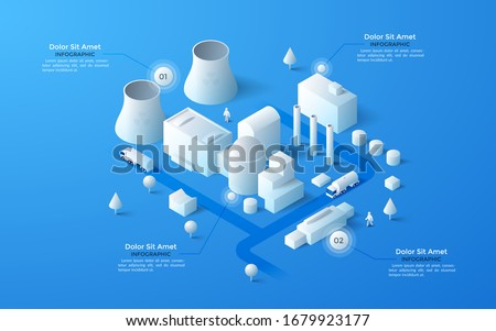 Isometric map of city industrial area with paper white factory and power plant buildings, cooling towers, streets and place for text. Clean infographic design template. Modern vector illustration. Сток-фото ©