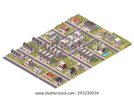 isometric map of the small town