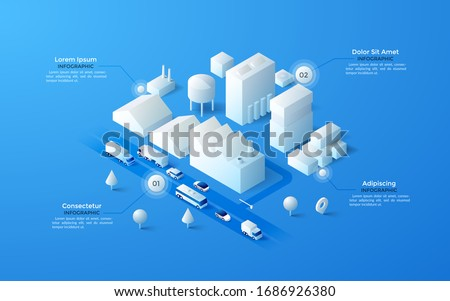Isometric map or plan of urban industrial area with paper white factories or mills, warehouse buildings, water towers, transport on road. Infographic design template. Modern vector illustration.