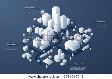 Isometric map or scheme of city with downtown, industrial district, suburban area, paper white buildings, houses and river. Infographic design template. Modern vector illustration for navigation.