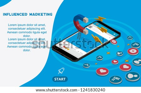 Isometric marketing concept with magnet iphone likes and hearts.