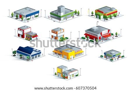 isometric markets malls