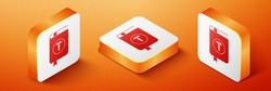 Isometric Medical book and Caduceus medical icon isolated on orange background. Medical reference book, textbook, encyclopedia. Scientific literature. Orange square button. Vector.