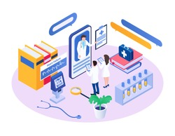 Isometric medical consultant vector illustration. Cartoon 3d doctor character advising, consulting tiny colleague people using app smartphone in hospital. Mobile online medicine consultation concept