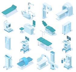 Isometric medical diagnostic, hospital health equipment. Medical scanner MRI, x-ray scanner and dental chair vector illustration. Ambulance technology equipment. Medical x-ray diagnostic and mri 3d