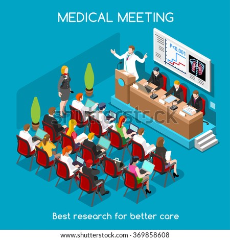 Isometric Medical Doctor Event Clinic Medicine Healthcare treatment Meeting Room Workshop Hospital Flat 3d Isometric People Conference Medical Doctor Speaker Public Auditorium Vector 3D Illustration