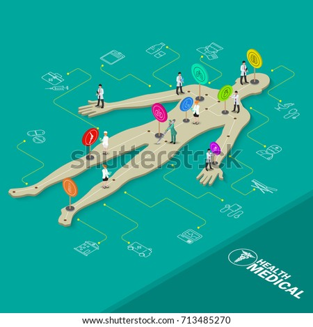 Isometric Medical Health Care Objects. Flat 3d Doctor,nurse, anatomy and Chemical Objects. Vector illustration
