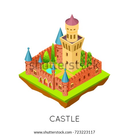 isometric medieval castle and