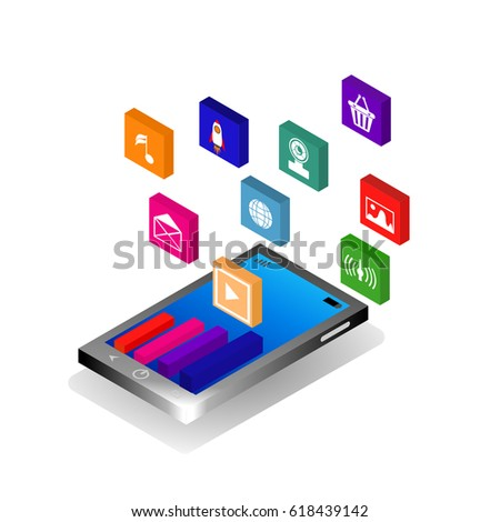Isometric mobile application, email marketing concept design, business analytics, concept info-graphic vector. - Shutterstock ID 618439142